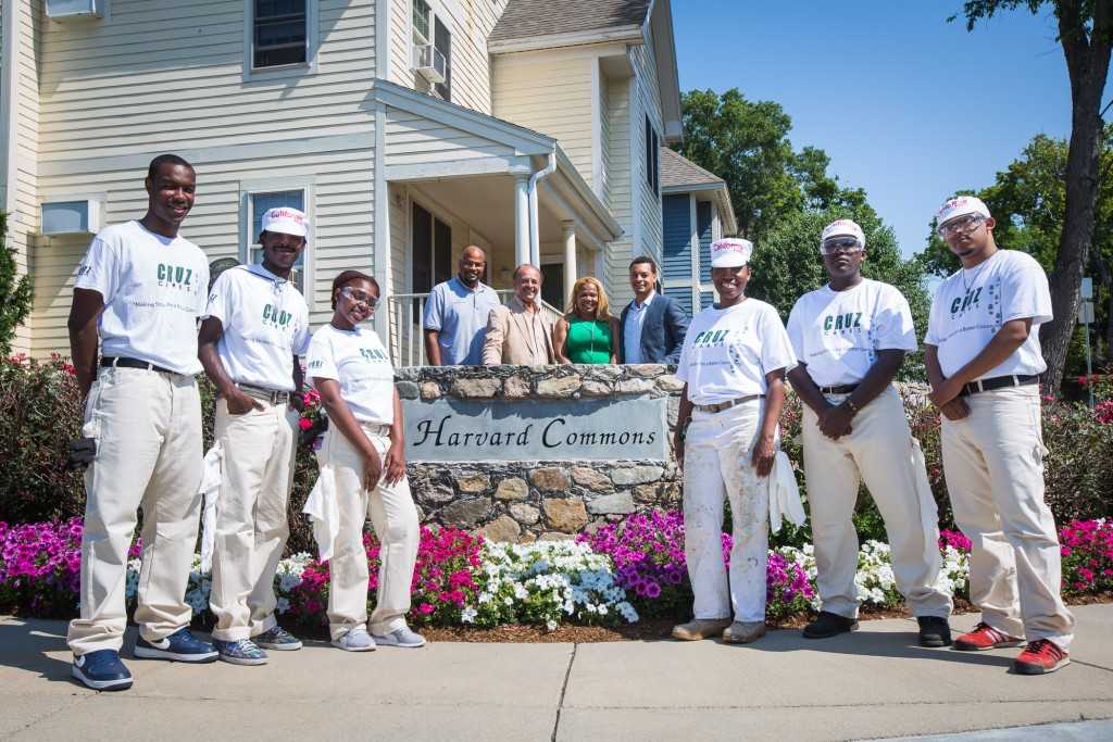 (From left, Summer Works participants Rashid Griffin, Josaun George, and Kaylin Berry-Woods; Cruz Companies leaders Christopher Sonnie, John B. Cruz, III, Dareline Jackson and Justin Cruz; youth painting instructor Qween Ragland; and youth participants Sun Brown and Sterling Pina; Photo Credit: Eric Haynes, courtesy of Cruz Companies.)